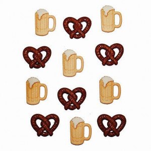 Knopf, Pretzels and Beer, ~ 20 x 15 - 20  x 16 mm, 12 Stk., bunt